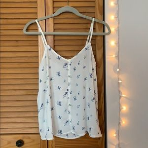 NWT White tank top with blue floral pattern